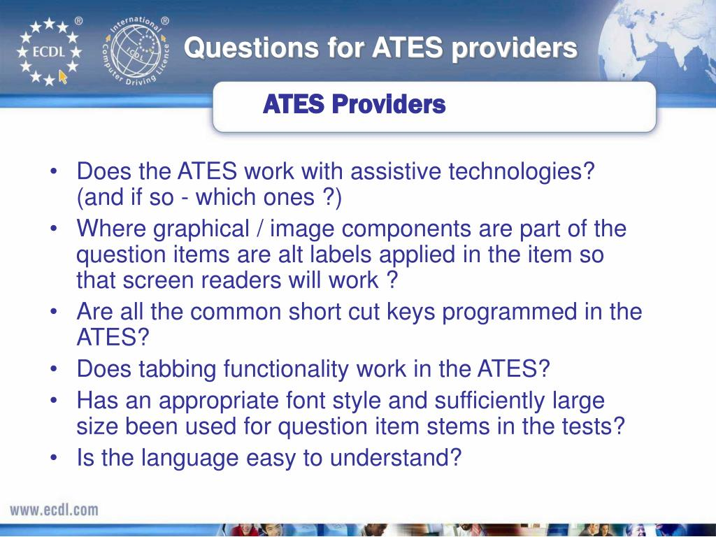 Questions for ATES providers