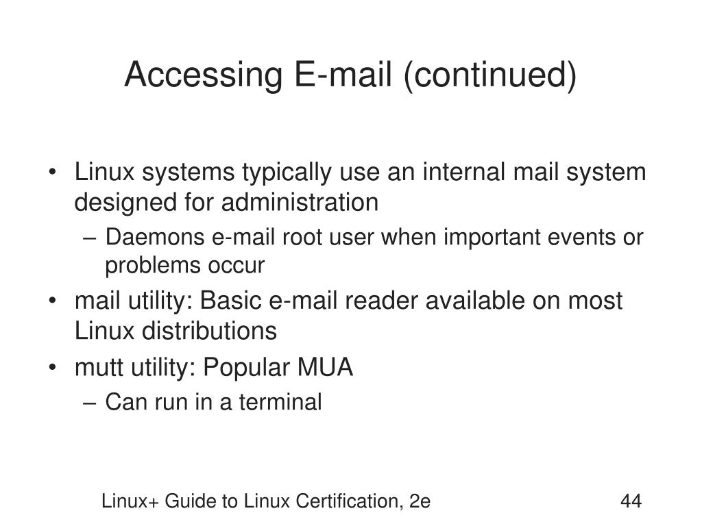 Accessing E-mail (continued)