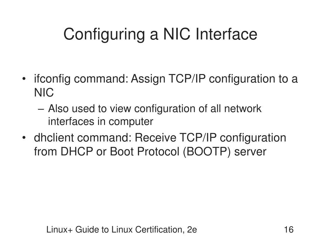 Configuring a NIC Interface