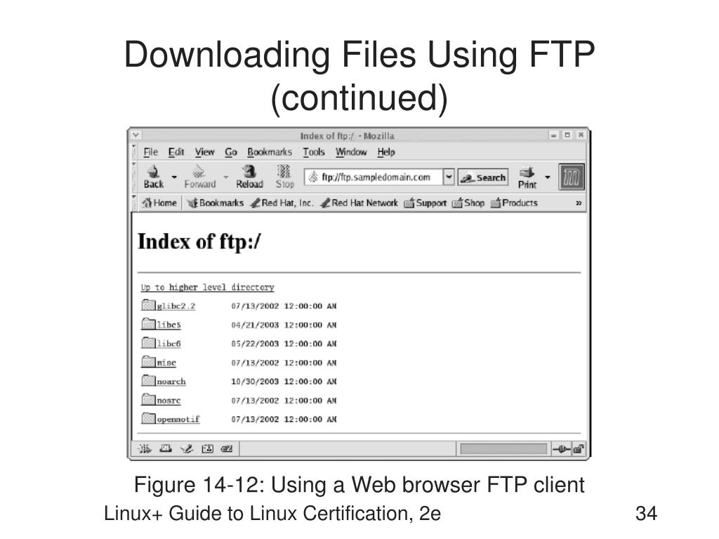 Downloading Files Using FTP (continued)