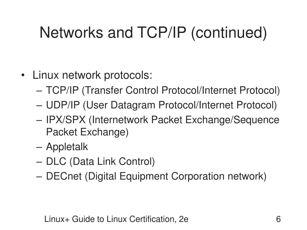 Networks and TCP/IP (continued)