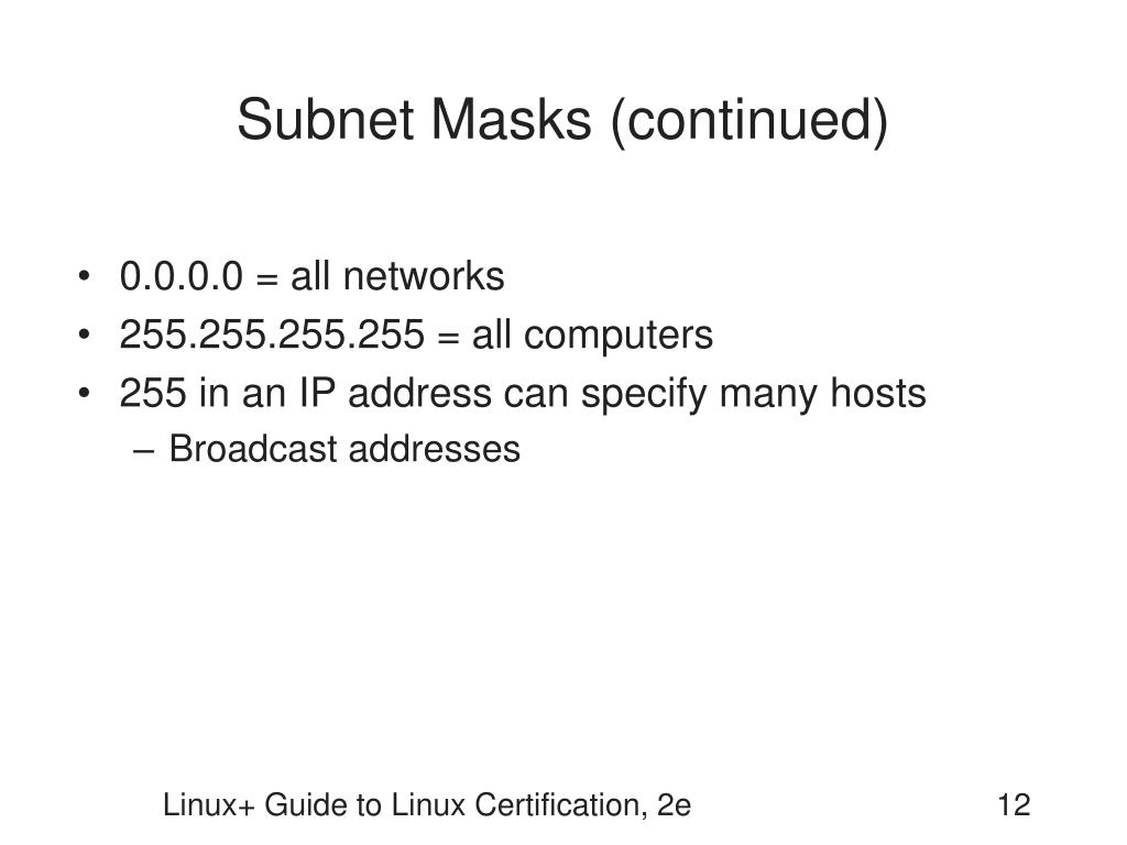 Subnet Masks (continued)
