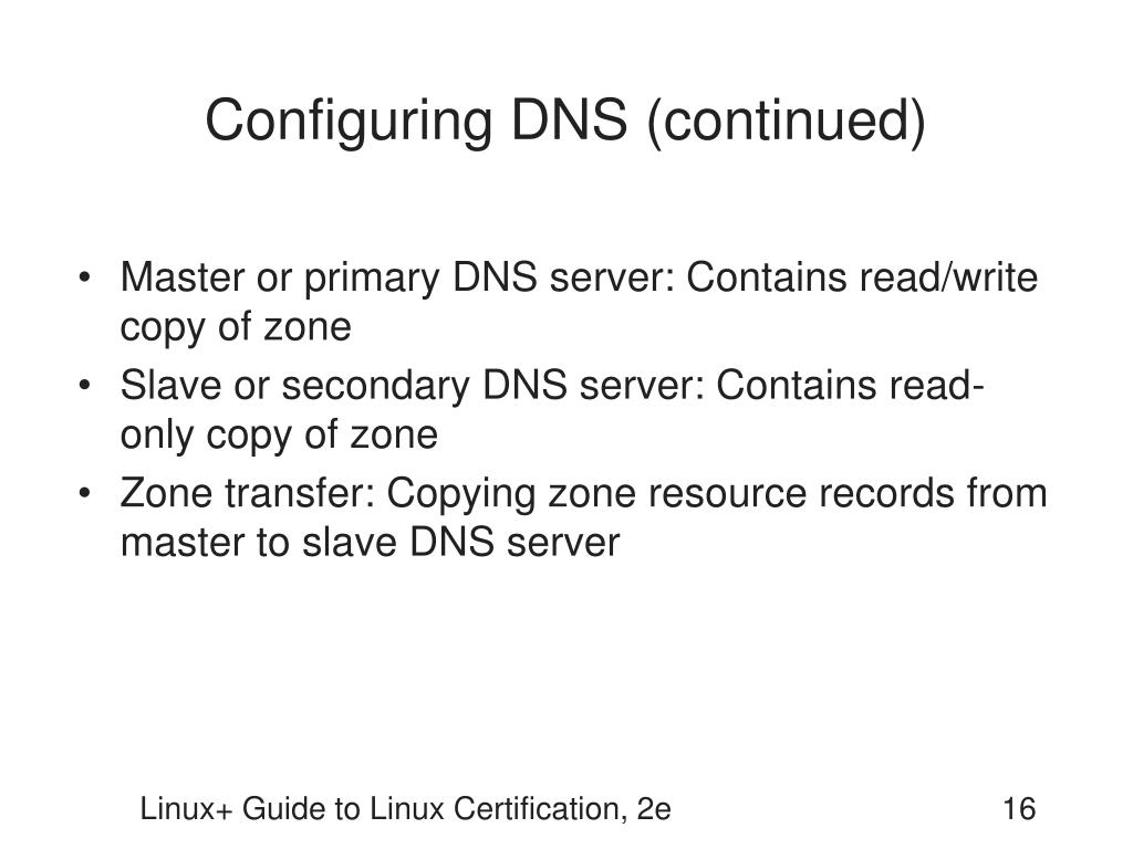 Configuring DNS (continued)
