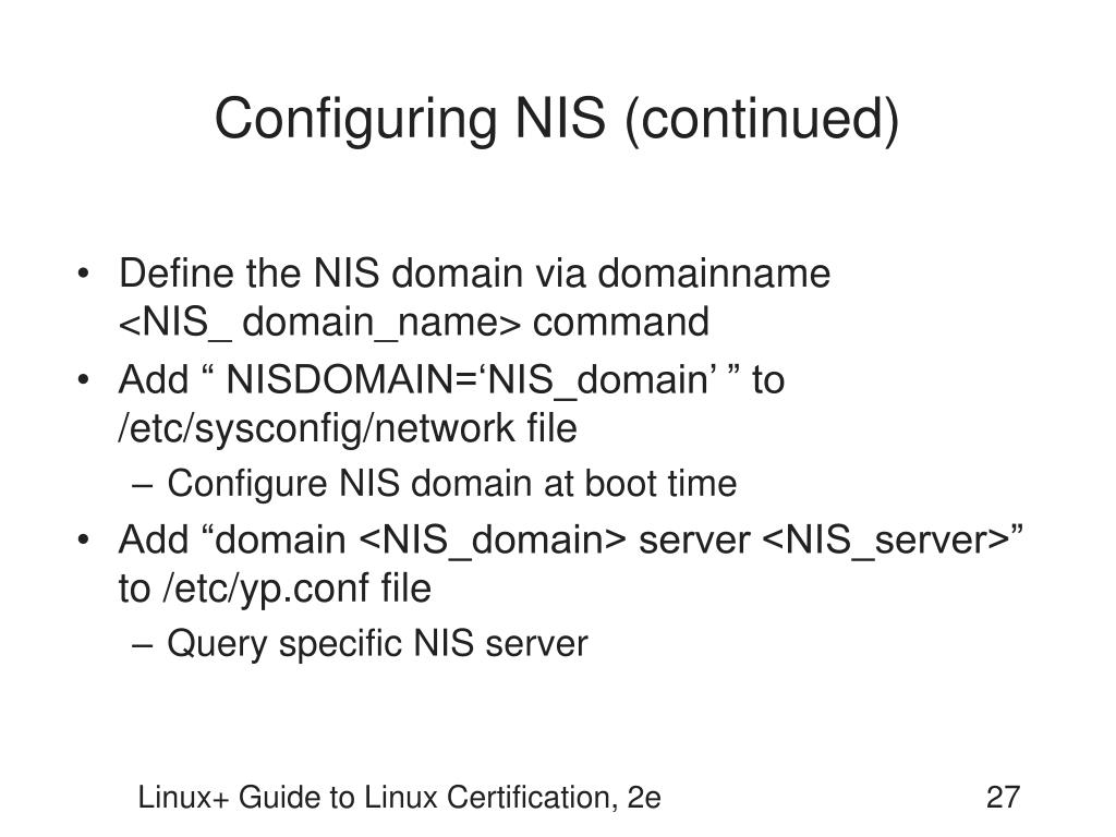 Configuring NIS (continued)