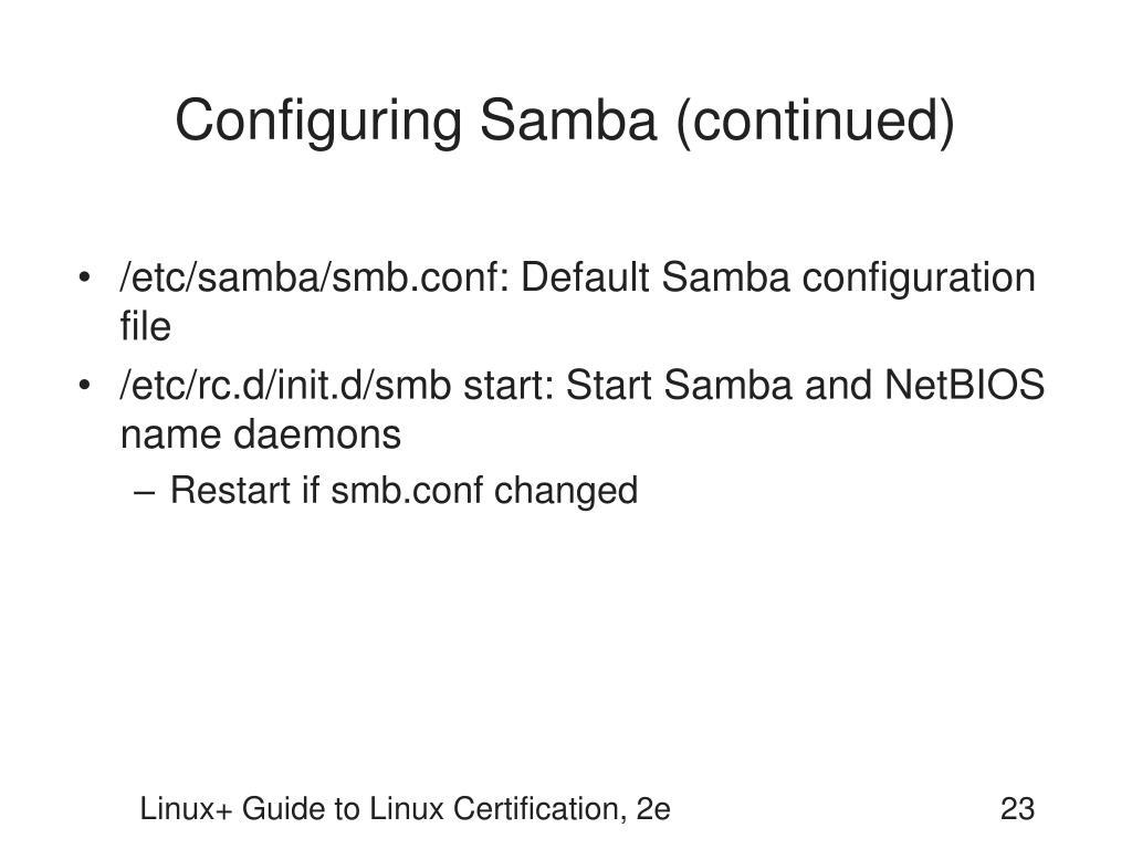 Configuring Samba (continued)