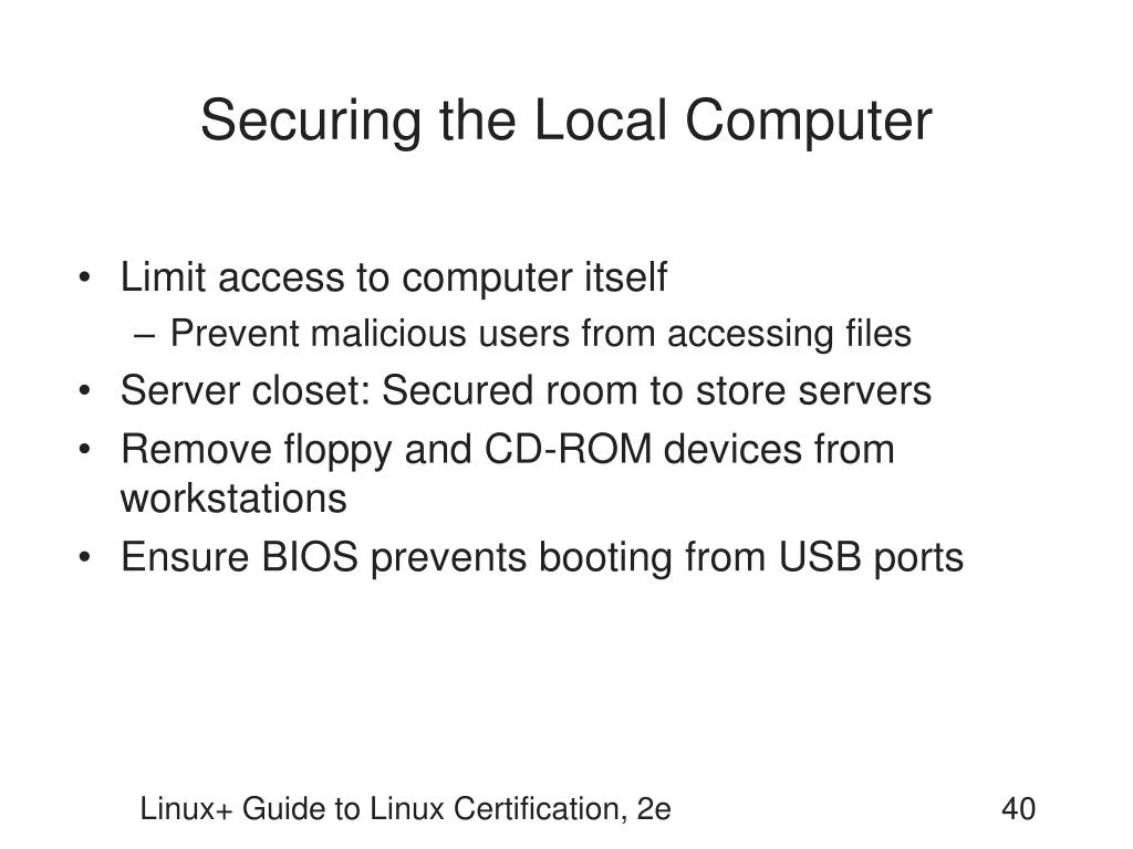 Securing the Local Computer