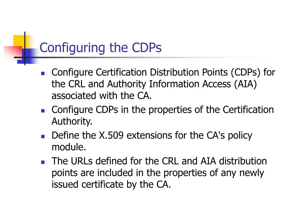 Configuring the CDPs