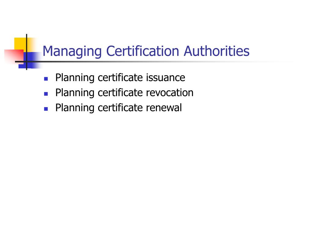 Managing Certification Authorities