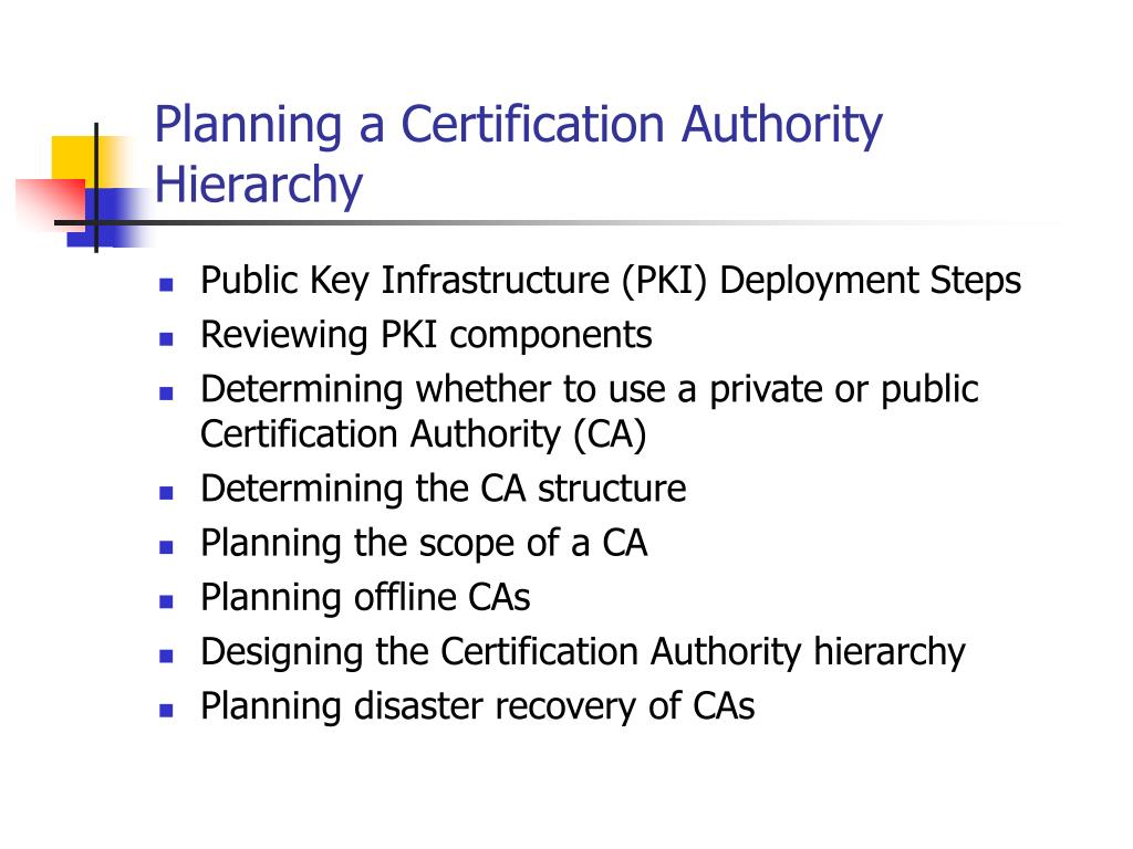 Planning a Certification Authority Hierarchy