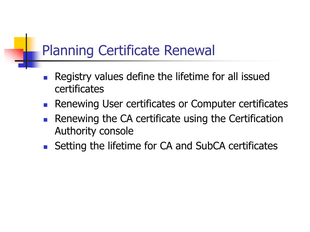 Planning Certificate Renewal