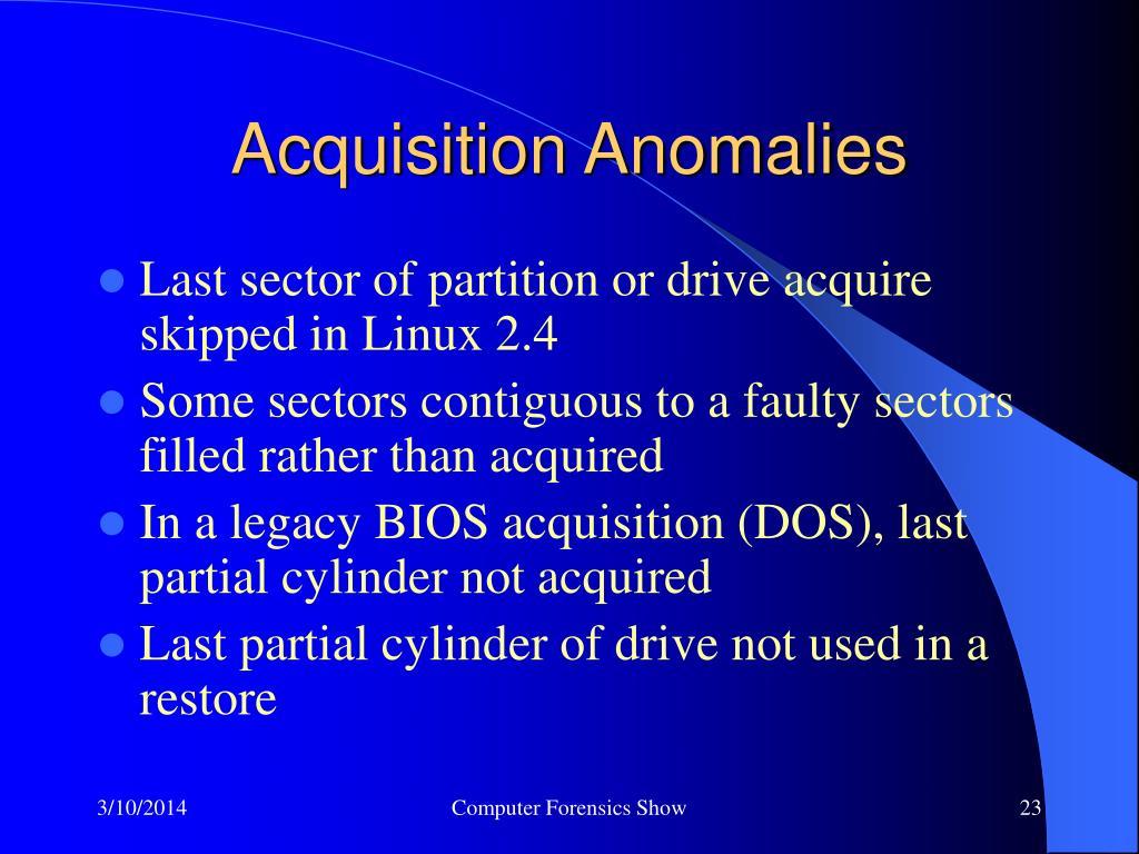 Acquisition Anomalies