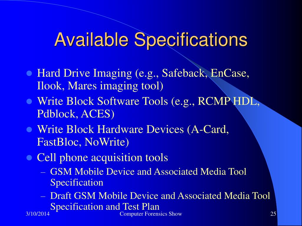 Available Specifications