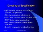 creating a specification