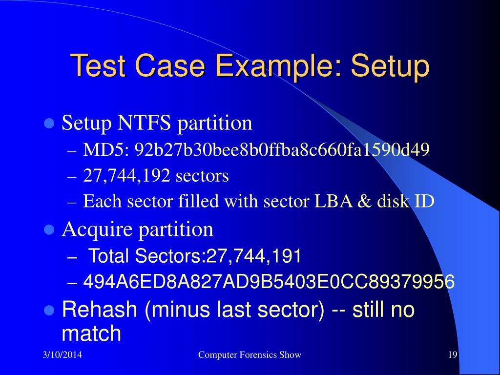 Test Case Example: Setup