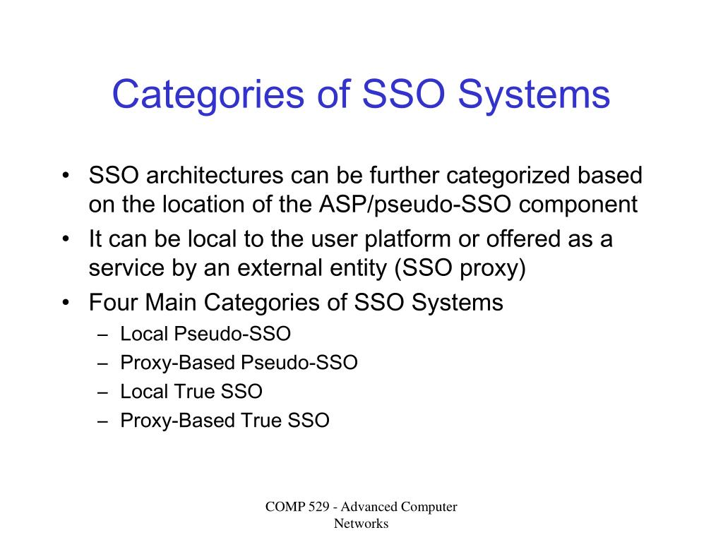 Categories of SSO Systems