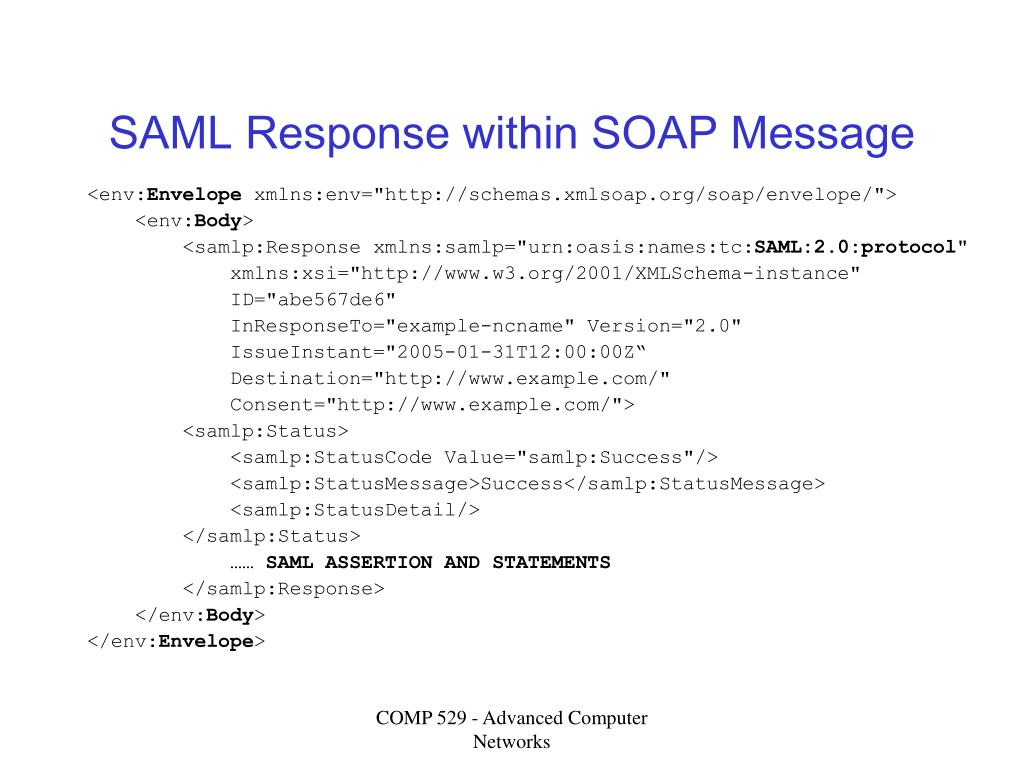 SAML Response within SOAP Message