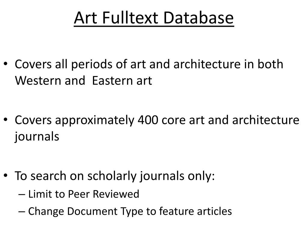 Art Fulltext Database