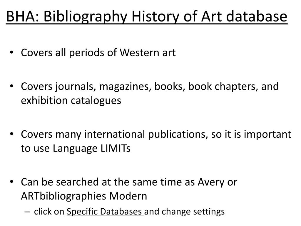 BHA: Bibliography History of Art database