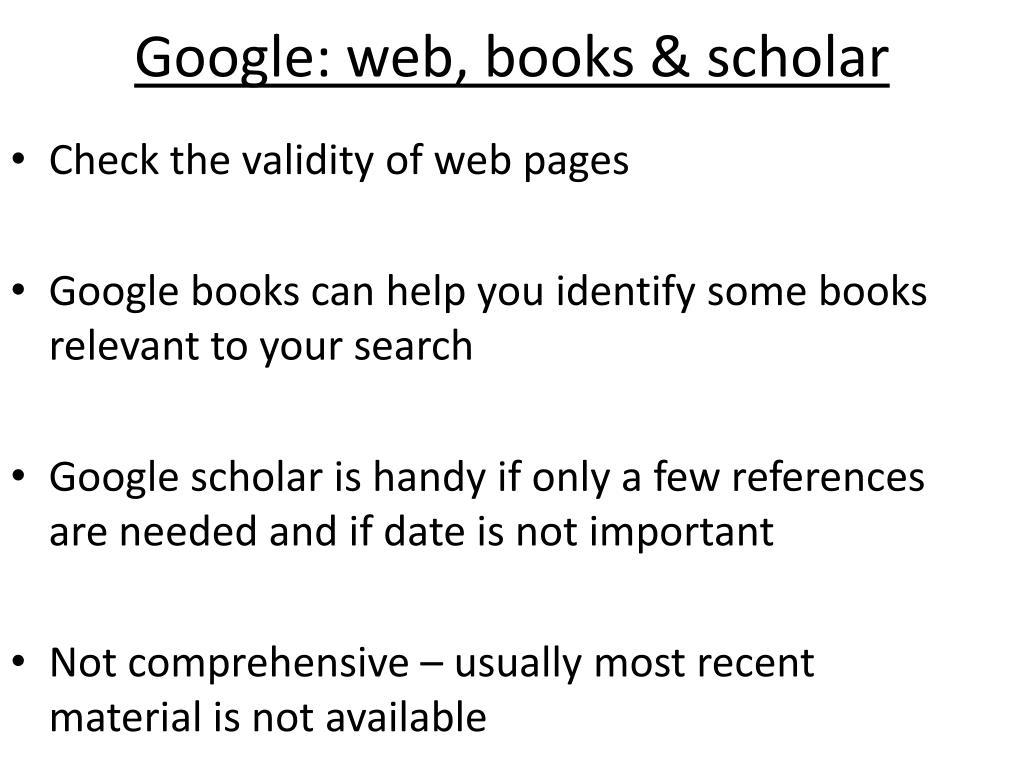 Google: web, books & scholar