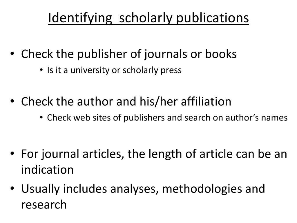 Identifying  scholarly publications