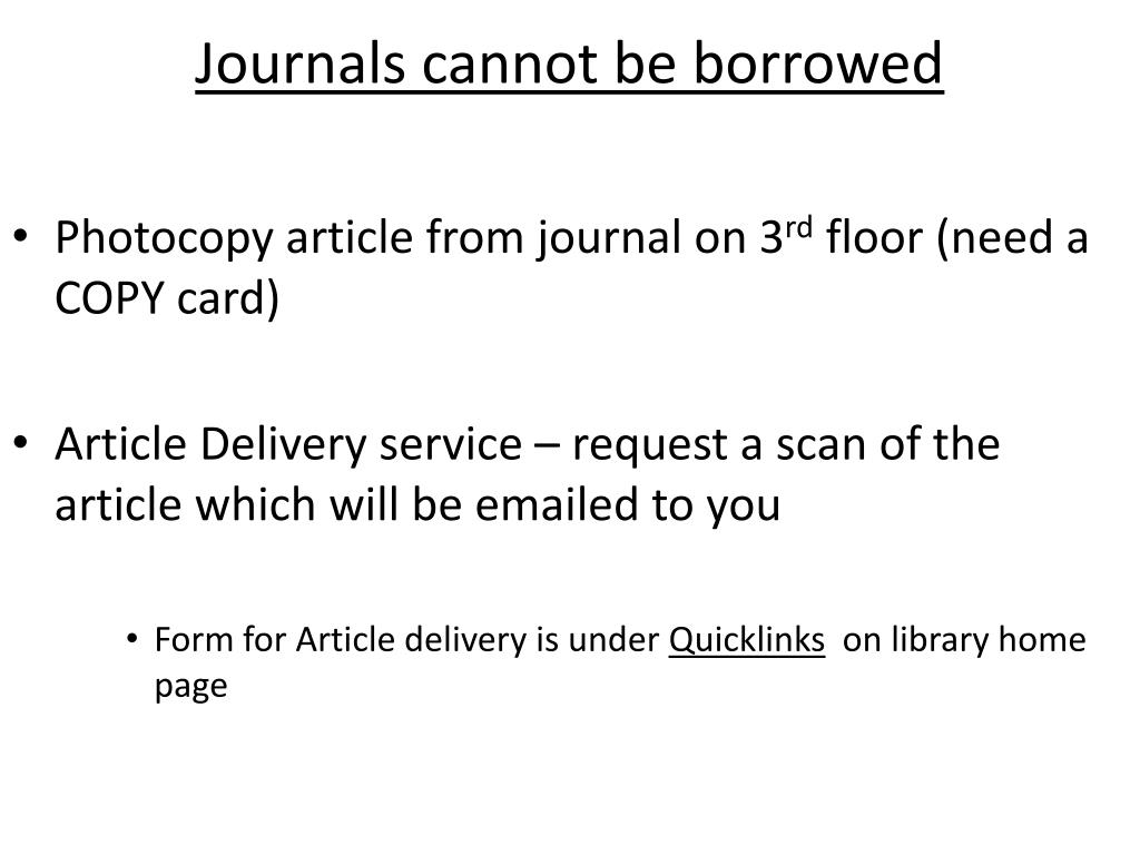 Journals cannot be borrowed