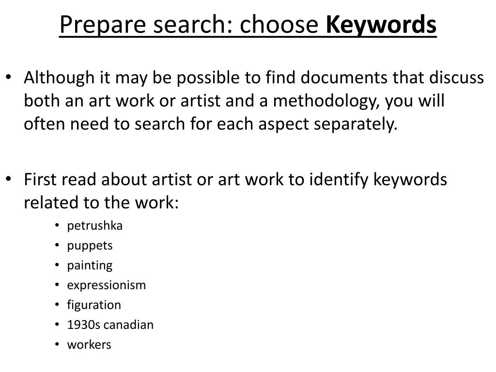 Prepare search: choose