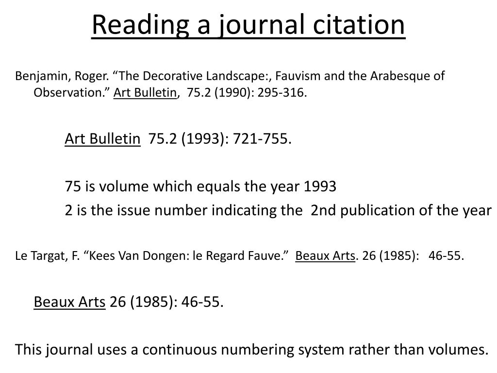 Reading a journal citation