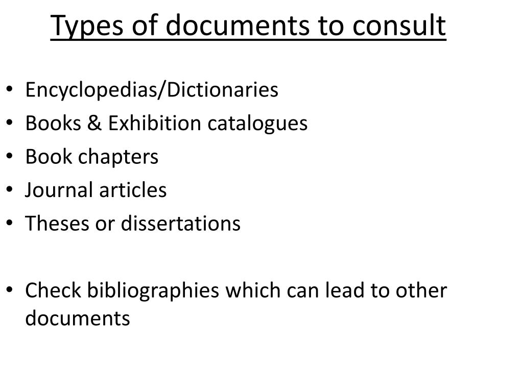 Types of documents to consult