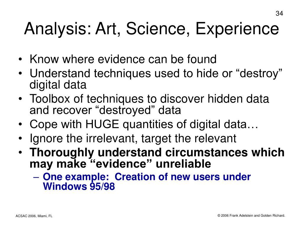 Analysis: Art, Science, Experience