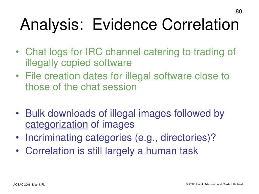 Analysis:  Evidence Correlation