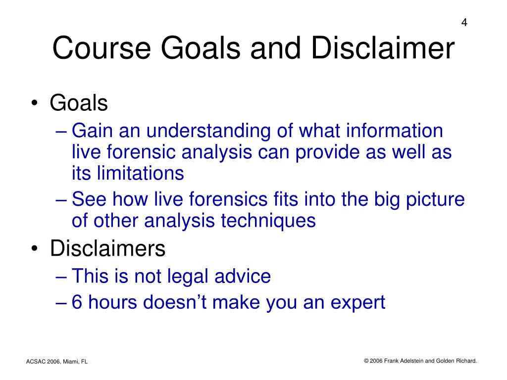 Course Goals and Disclaimer