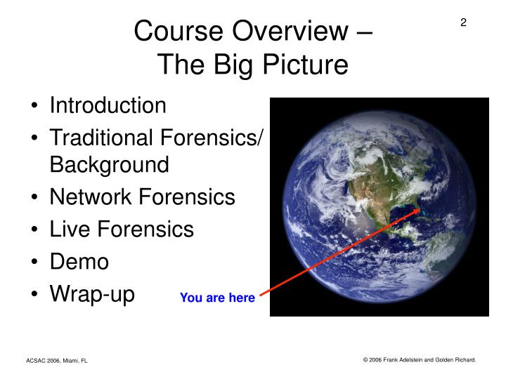 Course overview the big picture