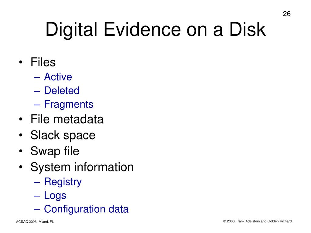 Digital Evidence on a Disk