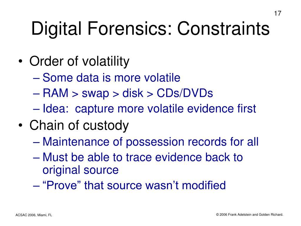 Digital Forensics: Constraints