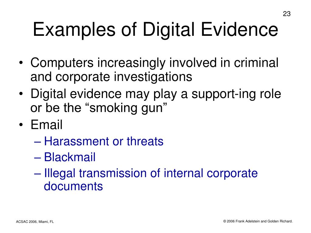 Examples of Digital Evidence