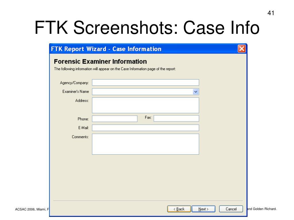 FTK Screenshots: Case Info