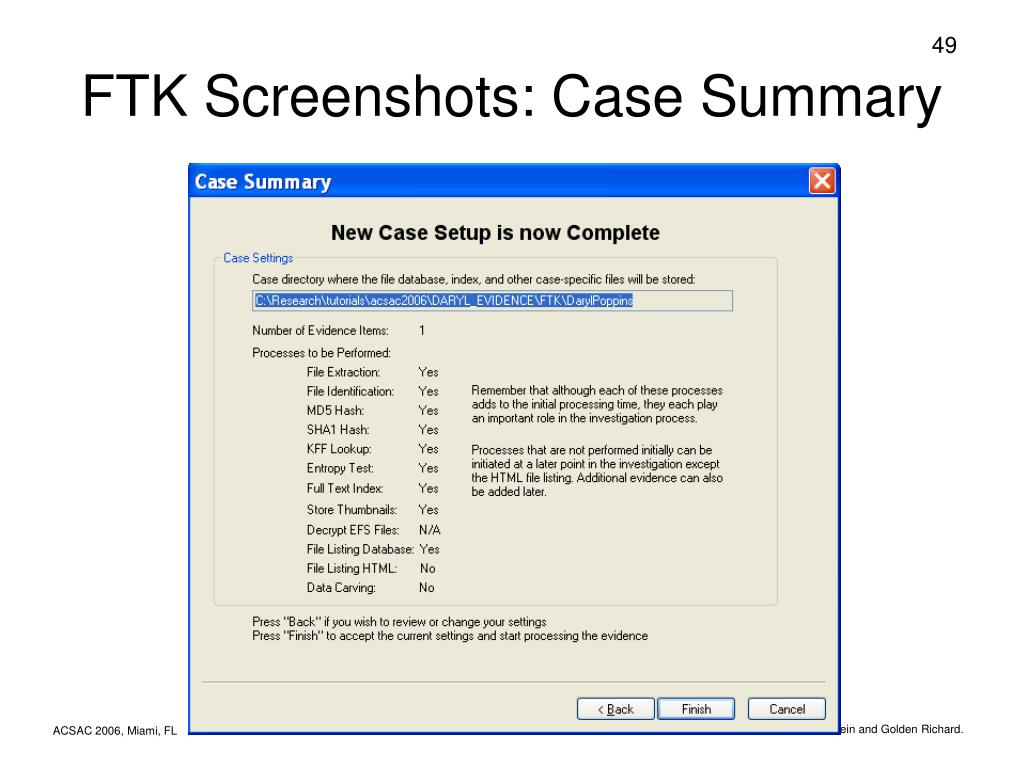FTK Screenshots: Case Summary
