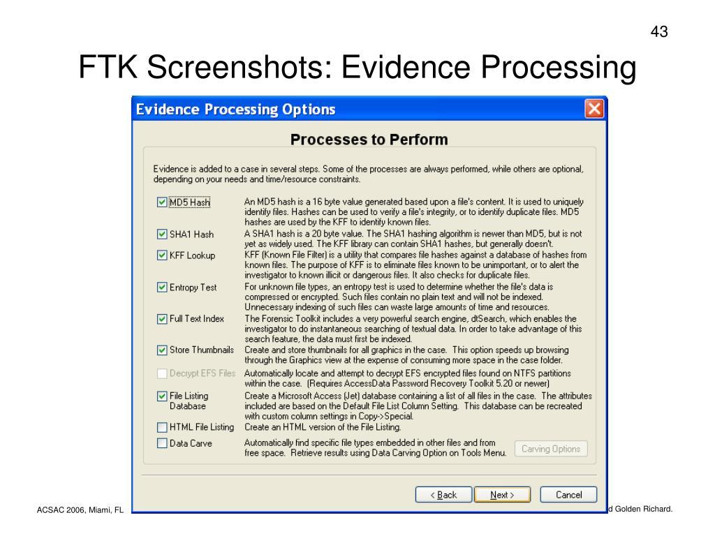 FTK Screenshots: Evidence Processing