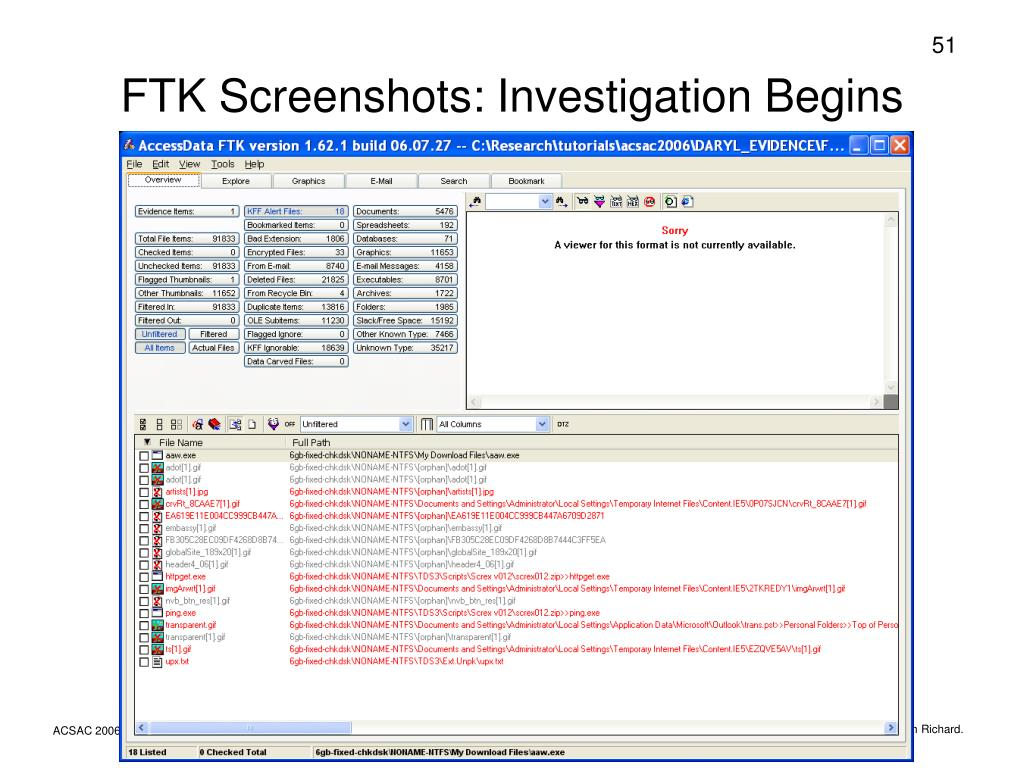 FTK Screenshots: Investigation Begins