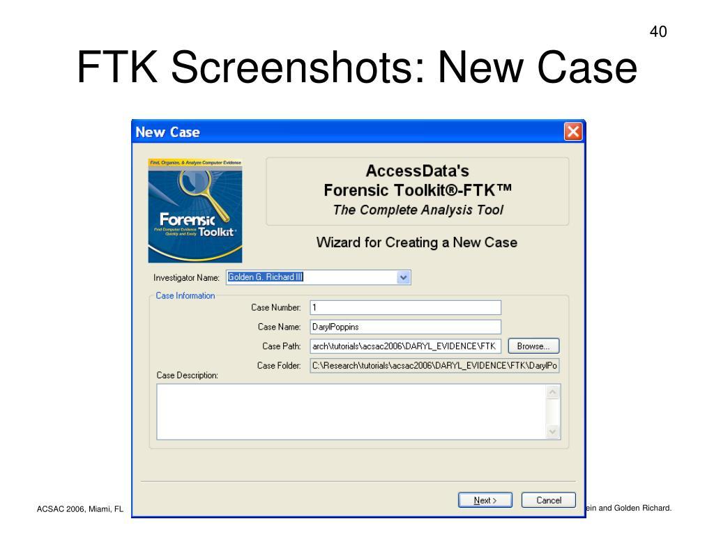FTK Screenshots: New Case