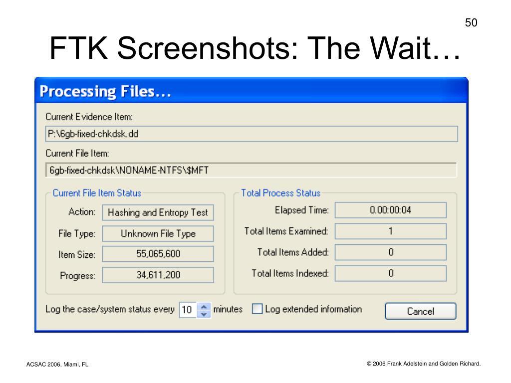 FTK Screenshots: The Wait…