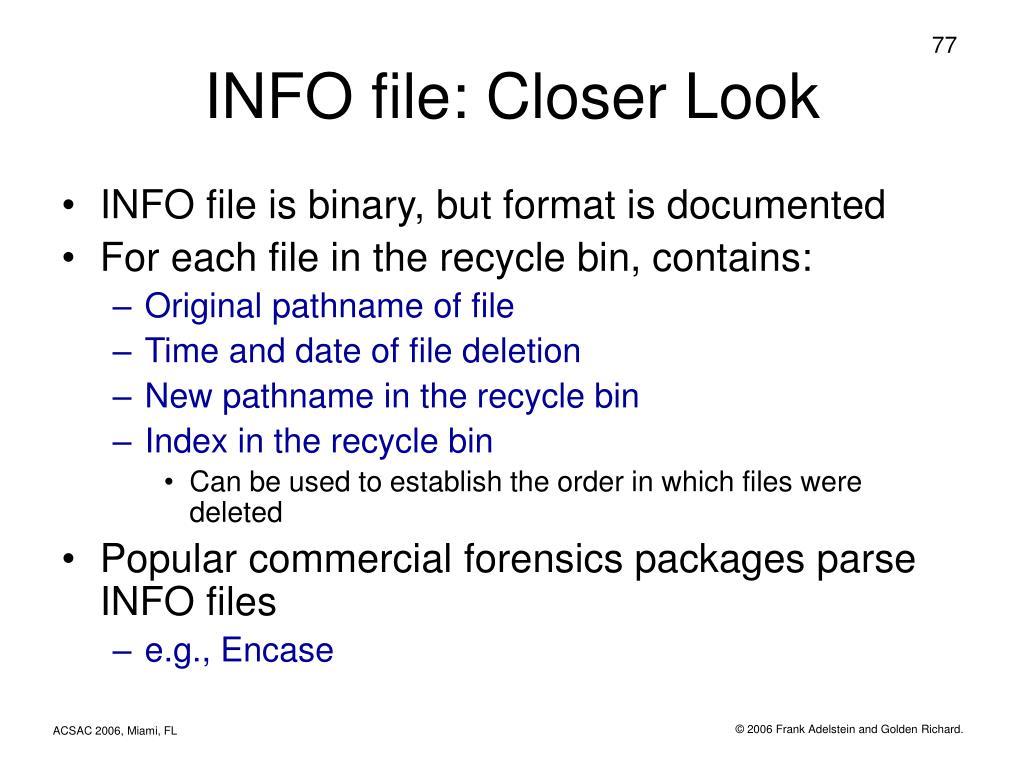 INFO file: Closer Look