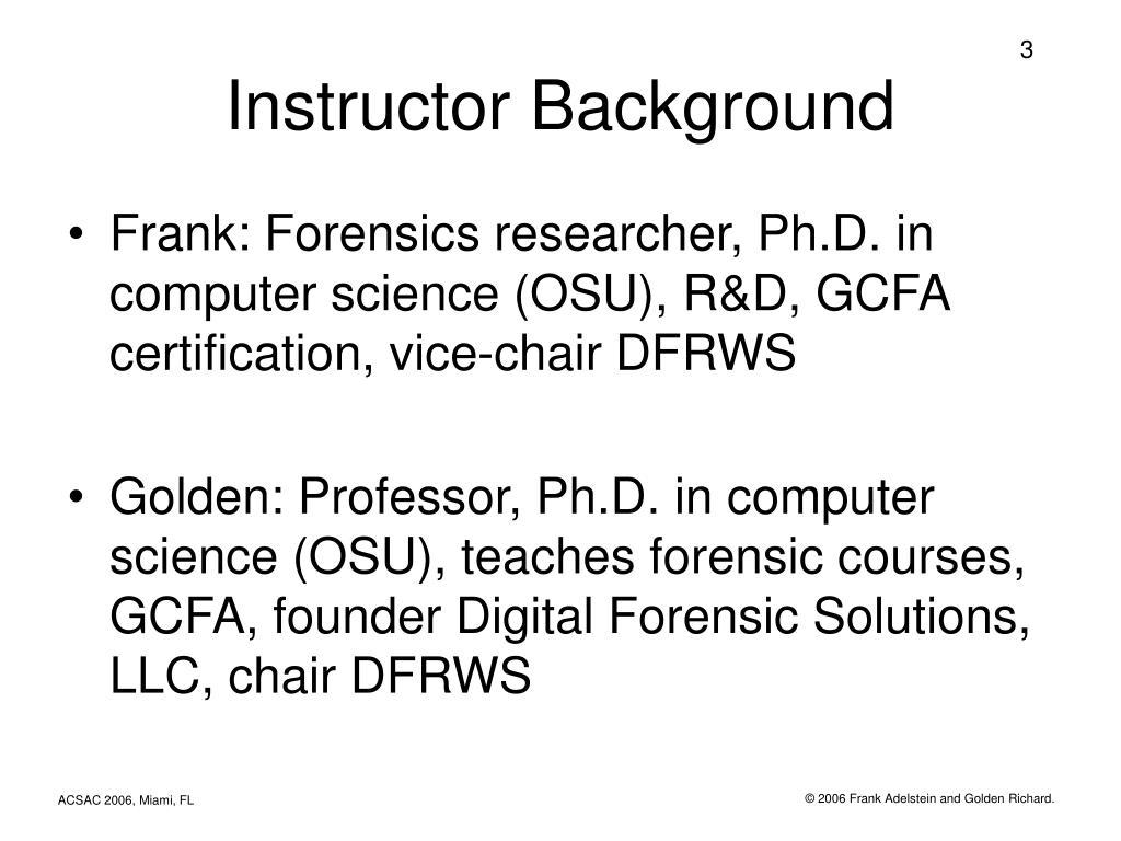 Instructor Background