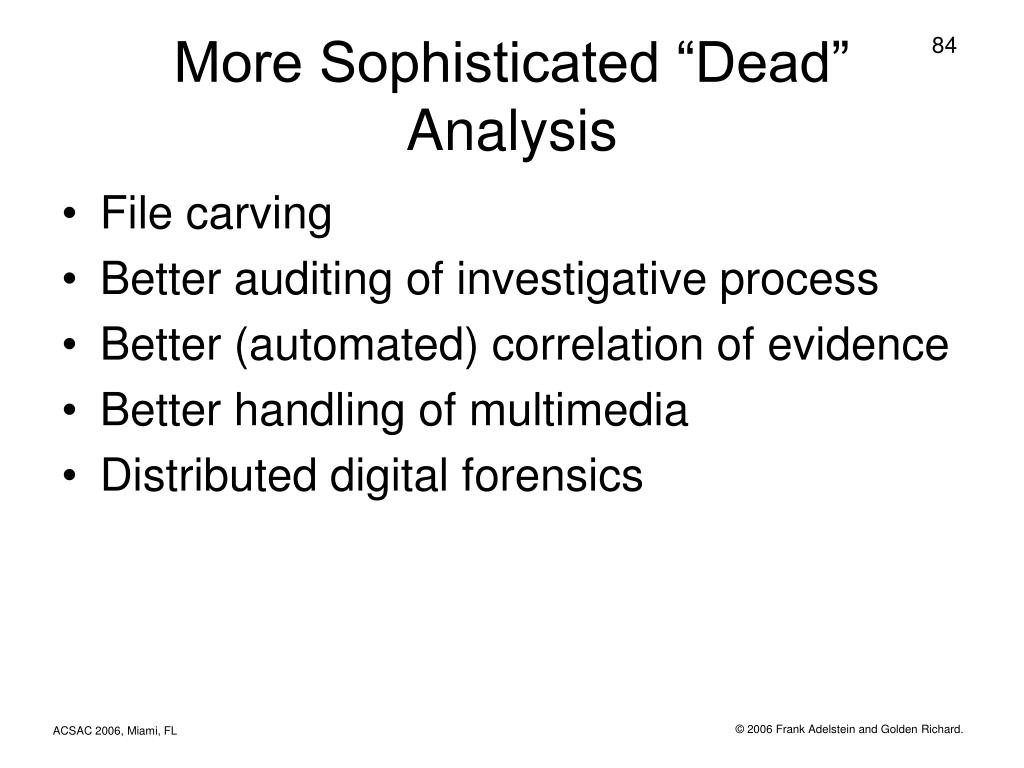 "More Sophisticated ""Dead"" Analysis"