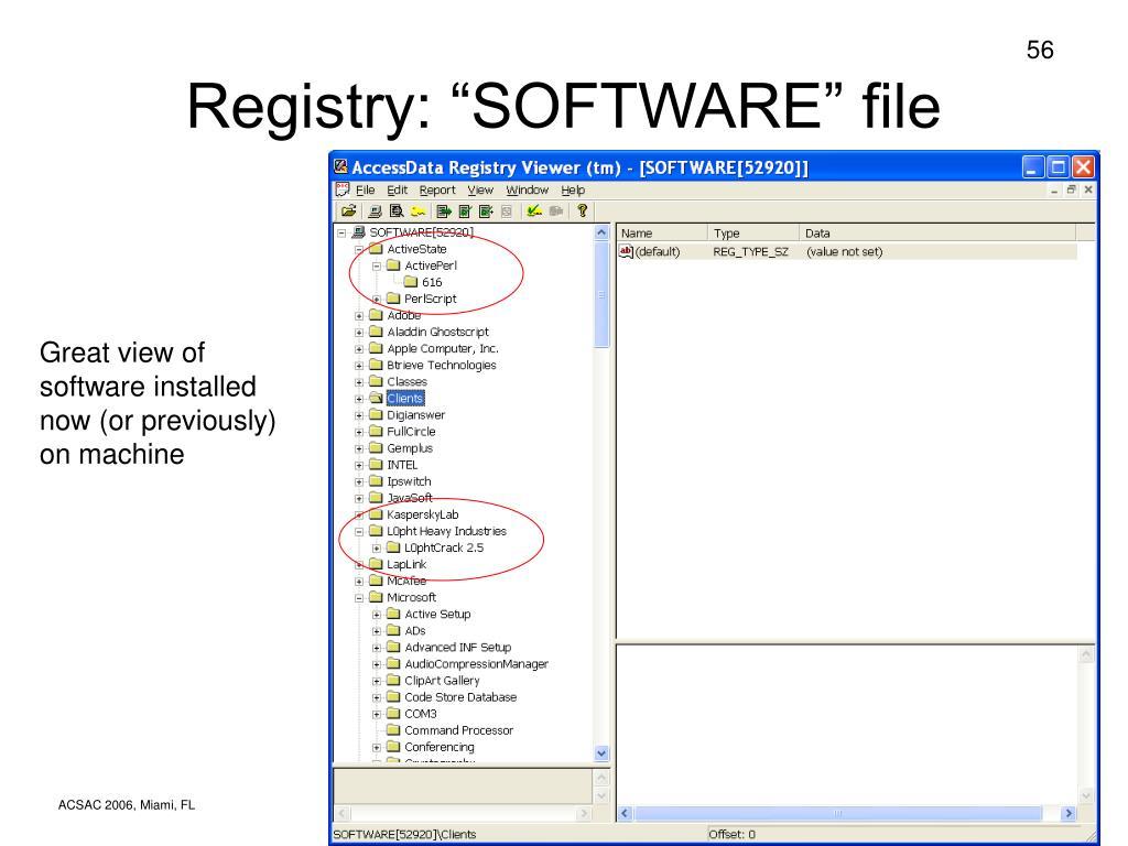"""Registry: """"SOFTWARE"""" file"""
