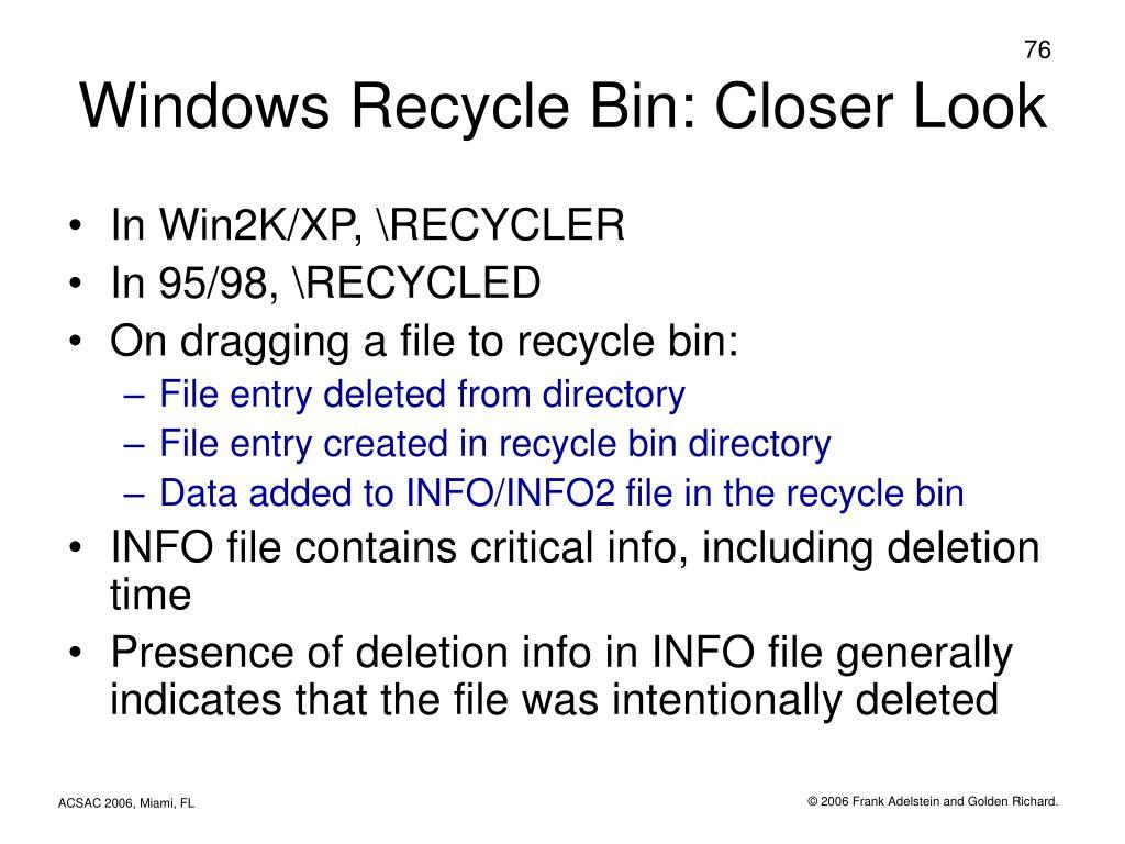 Windows Recycle Bin: Closer Look