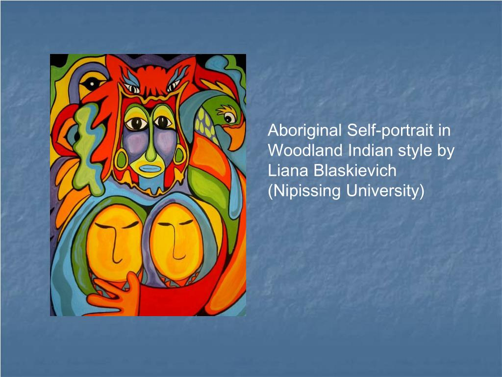 Aboriginal Self-portrait in Woodland Indian style by Liana Blaskievich