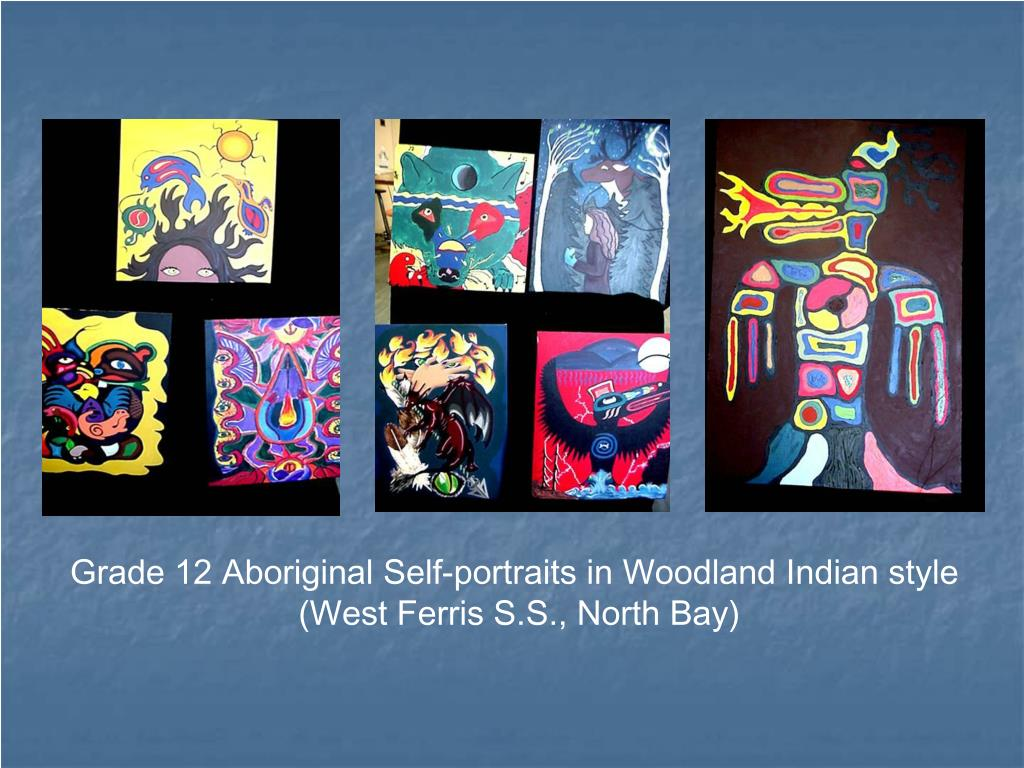 Grade 12 Aboriginal Self-portraits in Woodland Indian style