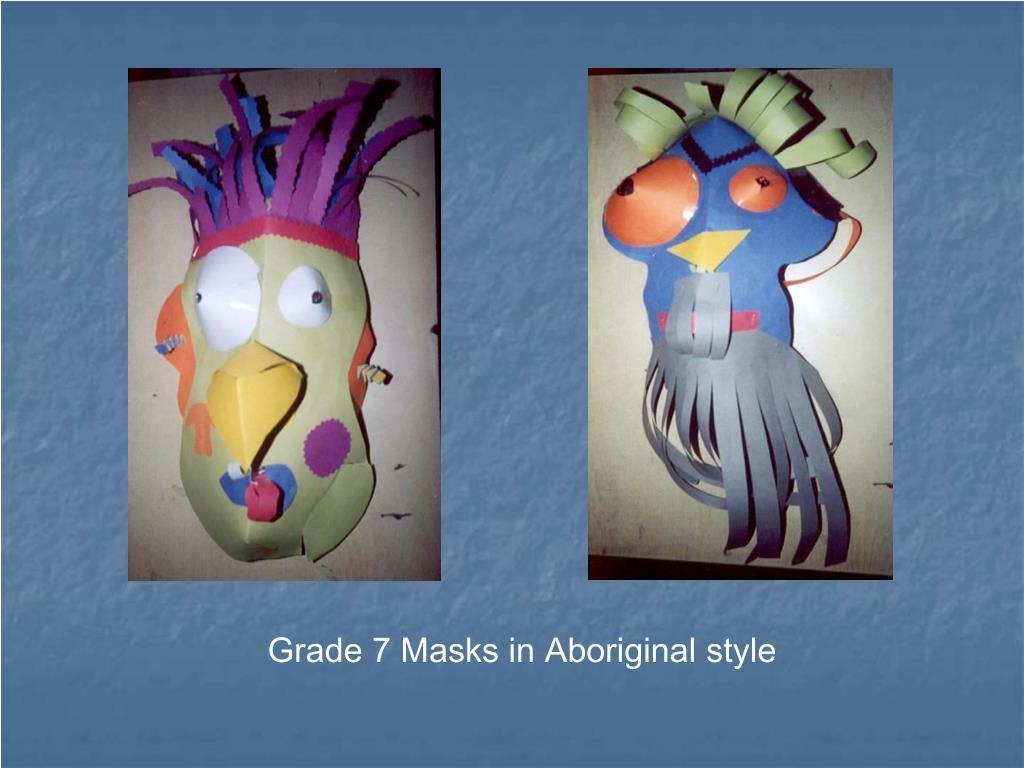 Grade 7 Masks in Aboriginal style