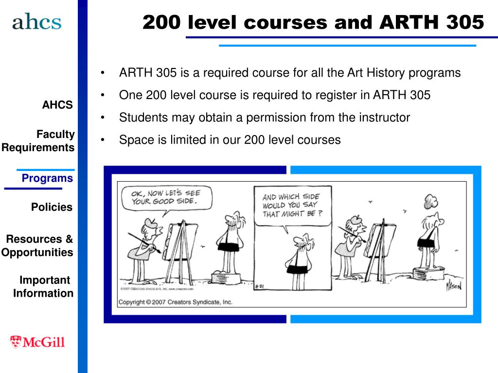 200 level courses and ARTH 305